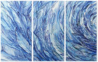 Triptychon blue feathers in a circle, watercolor abstract background