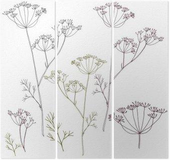 Triptychon Dill oder Fenchel Blumen und Blättern.
