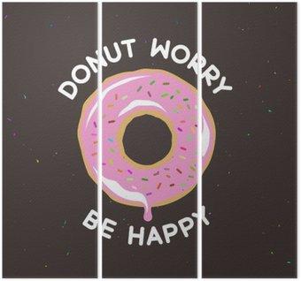 Triptychon Donut Sorge glücklich Weinleseplakat sein. Vektor-Illustration.