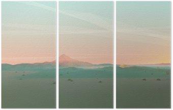 Triptychon Geometrische Berglandschaft mit Gradient Himmel