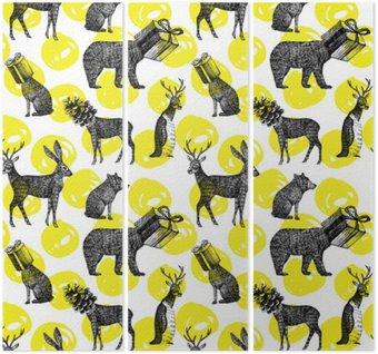 Triptychon Hand gezeichnet Winter Tiere nahtlose Hintergrund