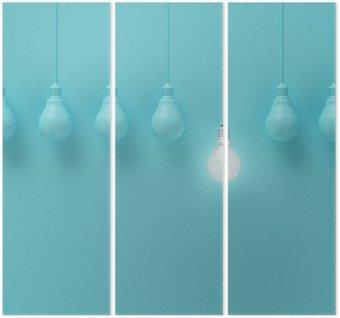 Triptychon Hängende Glühbirnen mit einer unterschiedlichen Idee auf hellblauem Hintergrund, Minimal Konzept Idee, flach lag glühend, top