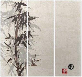 Triptychon Karte mit Bambus auf Vintage-Hintergrund in Sumi-e-Stil. mit Tinte von Hand gezeichnet. Enthält Hieroglyphe - Glück, Glück