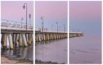 Triptychon Ostsee Pier in Gdynia Orlowo bei Sonnenuntergang, Polen