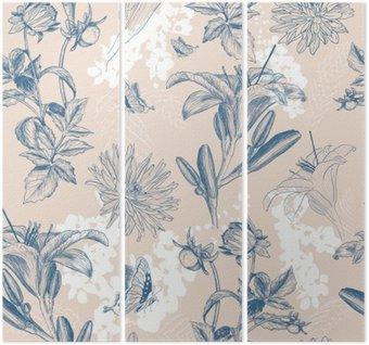 Triptychon Retro Blume Vektor-Illustration