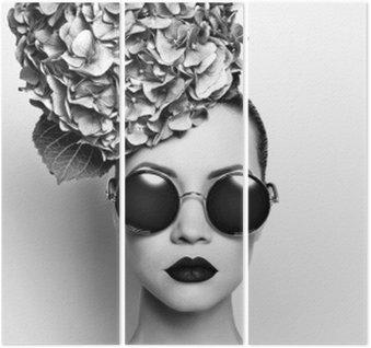 Triptychon Schöne Dame mit Hortensien