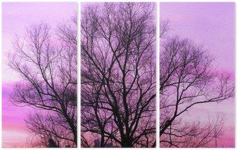 Triptychon Silhouette eines großen, alten Baum am schönen Sonnenuntergang violettem Hintergrund retro gefiltert