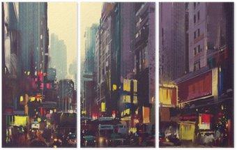 Triptychon Stadtverkehr und buntes Licht in Hong Kong, Illustration Malerei