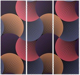 Triptychon Verziert Geometrische Petals Grid, abstrakte Vektornahtloses Muster