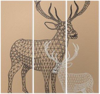 Triptychon Weihnachten Rentier mit geometrischem Muster, Vektor