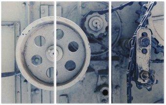 Triptychon Weinlesemaschine Mechanismus an der Fabrik