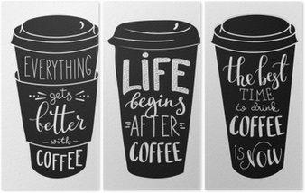 Triptychon Zitat Schriftzug auf Kaffee Pappbecher Form Set