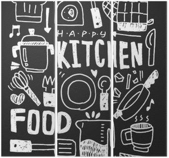 Triptych Kjøkkenelementer doodles hånddrevet linjepiktogram, eps10
