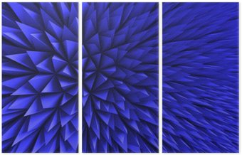Triptych Abstrakt Poligon Chaotic modrém pozadí