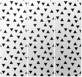 Triptych Abstraktní geometrické černá a bílá bederní módní náhodný trojúhelník vzor