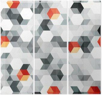 Triptych Abstraktní kostky bezešvé vzor s grunge efekt
