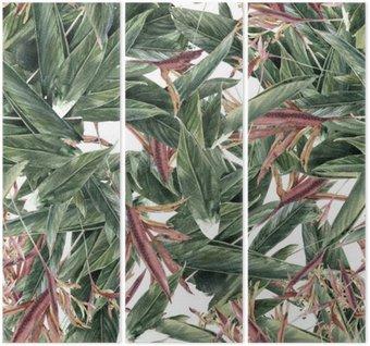 Triptych Akvarel z listů a květů, bezešvé vzor