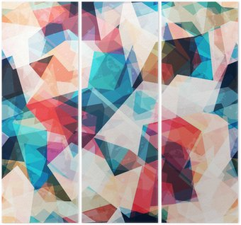 Triptych Barevné mozaiky bezešvé vzor s grunge efekt