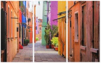Triptych Barevné ulice Burano, nedaleko Benátek, Itálie