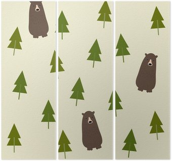 Triptych Bear and forest seamless background.