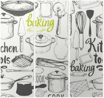 Triptych Bezešvé pozadí s kuchyňských spotřebičů a nářadí. vzor Menu.
