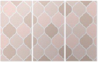 Triptych Bezešvé vzor růžové dlaždice, vektor