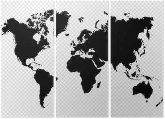 Triptych Černá silueta samostatný mapa světa EPS10 vektorový soubor.
