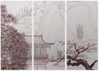Triptych Čínské krajiny