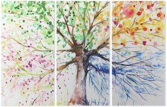 Triptych Čtyři sezóny strom