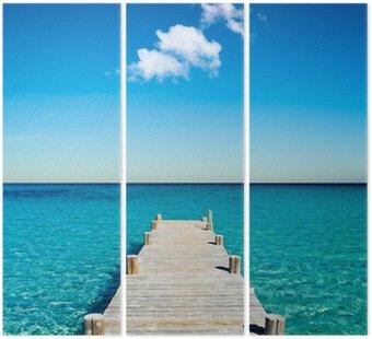 Triptych Dřevěné ponton beach dovolenou