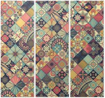 Triptych Etnický květinový vzor bezešvé