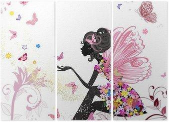 Triptych Flower Fairy v prostředí motýlů