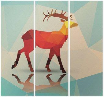 Triptych Geometrické polygonální jelen, vzor design, vektor