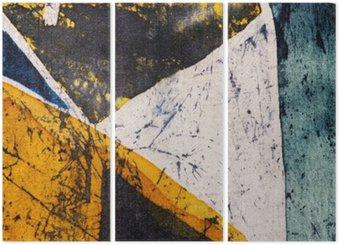 Triptych Geometrie, horké batikování, pozadí textury, ruční práce na hedvábí, abstraktní umění surrealismus