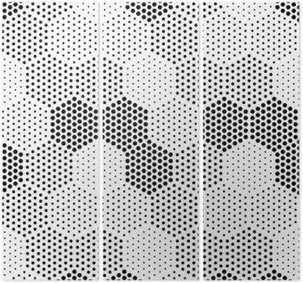 Triptych Hexagon Illusion Pattern