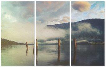 Triptych Horské jezero v italských Alpách, retro barvy, ročník