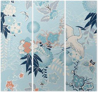 Triptych Kimono pozadí s jeřábem a květiny