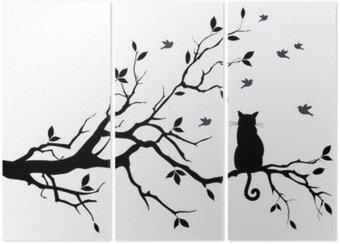 Triptych Kočka na stromě s ptáky, vektoru