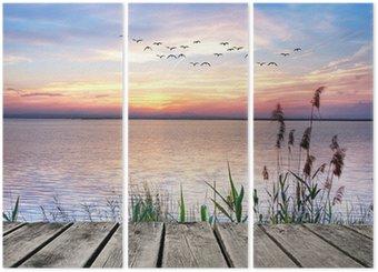 Triptych Lake barevné mraky