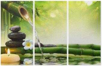 Triptych Lázeňské kameny v zahradě s průtokem vody