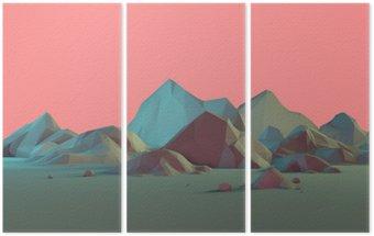 Triptych Low-Poly 3D Horská krajina s Pastels