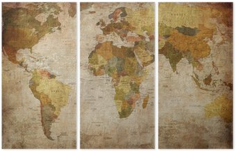Triptych Map world