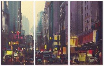 Triptych Městské dopravy a barevné světlo v Hong Kongu, ilustrace malba