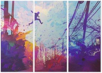 Triptych Muž skákání na střeše ve městě s abstraktním grunge, ilustrace malba