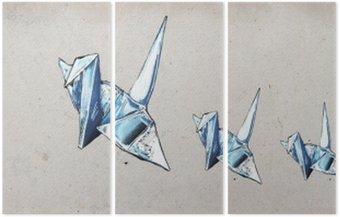 Triptych Origami jeřáby