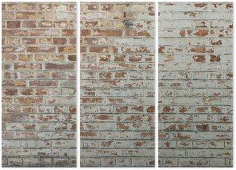 Triptych Pozadí starých vintage špinavé cihlové zdi s omítkou loupání