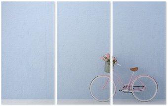 Triptych Retro vintage kolo staré a modrá zeď. 3d rendering