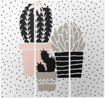Triptych Ručně kreslenými Cactus Plakát