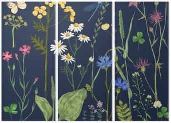 Triptych Ručně kreslenými set s bylinkami a květinami