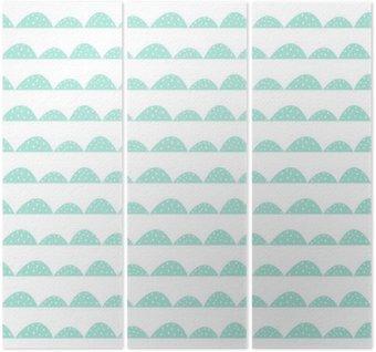 Triptych Scandinavian bezešvé máta vzor ve stylu ručně kreslenou. Stylizované kopec řádky. Mávat jednoduchý vzor pro tkaniny, textilie a dětského prádla.